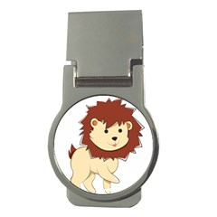 Happy Cartoon Baby Lion Money Clips (round)  by Catifornia
