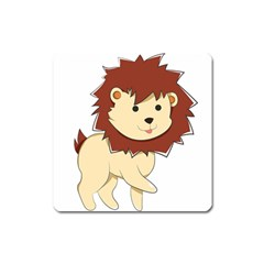 Happy Cartoon Baby Lion Square Magnet by Catifornia