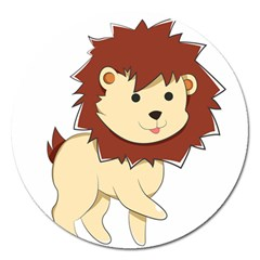 Happy Cartoon Baby Lion Magnet 5  (round) by Catifornia