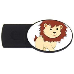 Happy Cartoon Baby Lion Usb Flash Drive Oval (2 Gb) by Catifornia