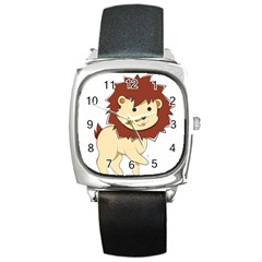 Happy Cartoon Baby Lion Square Metal Watch by Catifornia