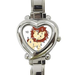 Happy Cartoon Baby Lion Heart Italian Charm Watch by Catifornia