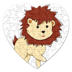 Happy Cartoon Baby Lion Jigsaw Puzzle (heart) by Catifornia