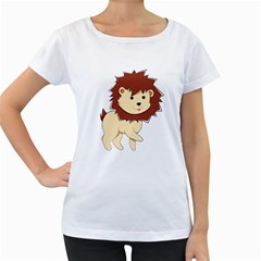 Happy Cartoon Baby Lion Women s Loose Fit T Shirt (white) by Catifornia