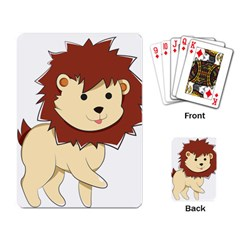 Happy Cartoon Baby Lion Playing Card by Catifornia
