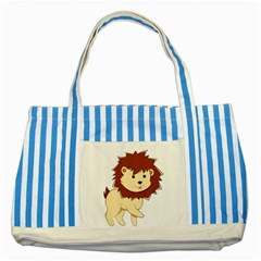 Happy Cartoon Baby Lion Striped Blue Tote Bag by Catifornia