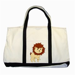 Happy Cartoon Baby Lion Two Tone Tote Bag by Catifornia