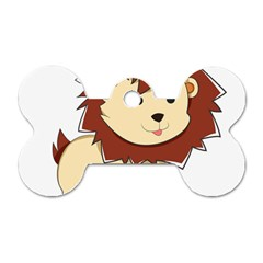 Happy Cartoon Baby Lion Dog Tag Bone (one Side) by Catifornia