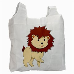 Happy Cartoon Baby Lion Recycle Bag (two Side)  by Catifornia