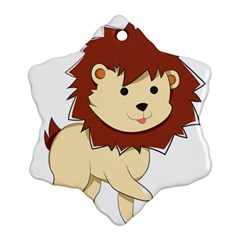 Happy Cartoon Baby Lion Snowflake Ornament (two Sides) by Catifornia