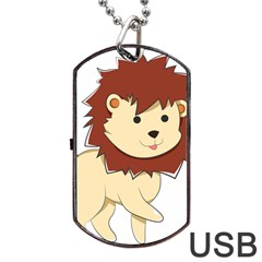 Happy Cartoon Baby Lion Dog Tag Usb Flash (two Sides) by Catifornia