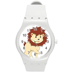 Happy Cartoon Baby Lion Round Plastic Sport Watch (m) by Catifornia