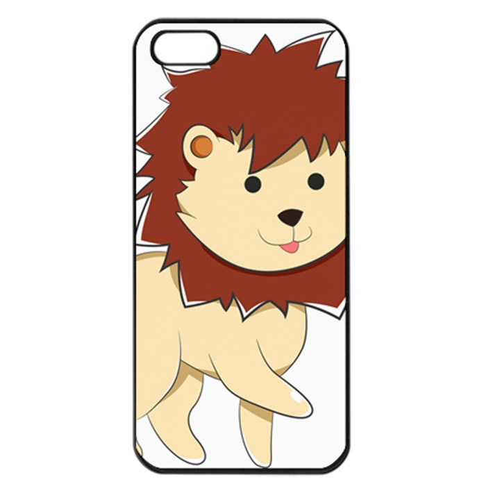 Happy Cartoon Baby Lion Apple iPhone 5 Seamless Case (Black)