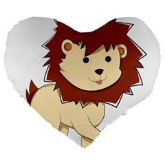 Happy Cartoon Baby Lion Large 19  Premium Heart Shape Cushions by Catifornia
