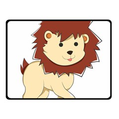 Happy Cartoon Baby Lion Double Sided Fleece Blanket (small)  by Catifornia