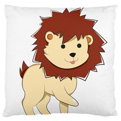 Happy Cartoon Baby Lion Large Flano Cushion Case (two Sides) by Catifornia