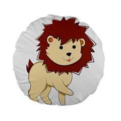 Happy Cartoon Baby Lion Standard 15  Premium Flano Round Cushions by Catifornia