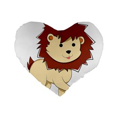 Happy Cartoon Baby Lion Standard 16  Premium Flano Heart Shape Cushions by Catifornia
