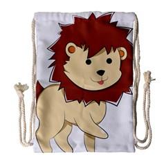 Happy Cartoon Baby Lion Drawstring Bag (large) by Catifornia