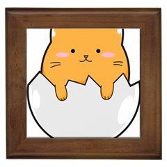 Yellow Cat Egg Framed Tiles by Catifornia
