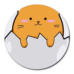 Yellow Cat Egg Round Mousepads by Catifornia