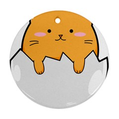 Yellow Cat Egg Ornament (round) by Catifornia