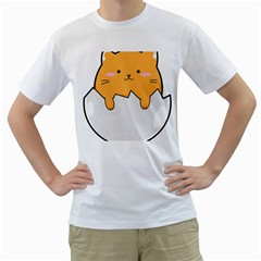 Yellow Cat Egg Men s T Shirt (white) (two Sided) by Catifornia