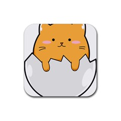 Yellow Cat Egg Rubber Square Coaster (4 Pack)  by Catifornia