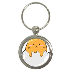 Yellow Cat Egg Key Chains (round)  by Catifornia