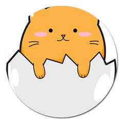 Yellow Cat Egg Magnet 5  (round) by Catifornia