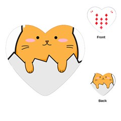 Yellow Cat Egg Playing Cards (heart)  by Catifornia