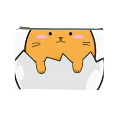Yellow Cat Egg Cosmetic Bag (large)  by Catifornia