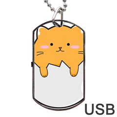 Yellow Cat Egg Dog Tag Usb Flash (two Sides) by Catifornia
