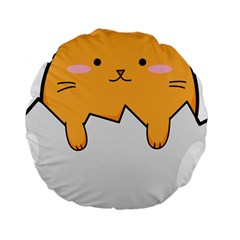 Yellow Cat Egg Standard 15  Premium Round Cushions by Catifornia