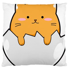Yellow Cat Egg Standard Flano Cushion Case (one Side) by Catifornia