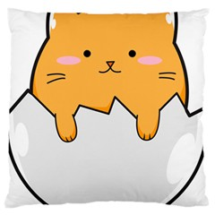 Yellow Cat Egg Large Flano Cushion Case (two Sides) by Catifornia