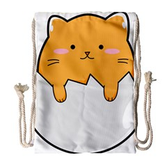 Yellow Cat Egg Drawstring Bag (large) by Catifornia