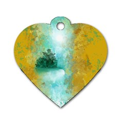 Turquoise River Dog Tag Heart (two Sides) by theunrulyartist