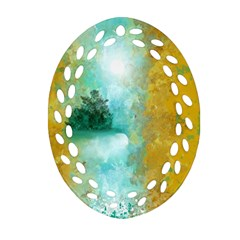 Turquoise River Oval Filigree Ornament (two Sides) by theunrulyartist