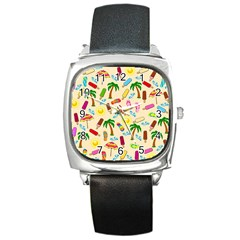 Beach Pattern Square Metal Watch by Valentinaart