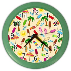Beach Pattern Color Wall Clocks by Valentinaart