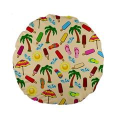 Beach Pattern Standard 15  Premium Round Cushions by Valentinaart