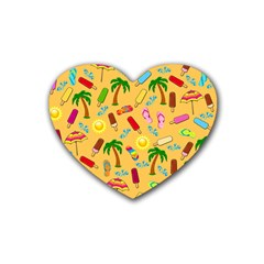 Beach Pattern Rubber Coaster (heart)  by Valentinaart