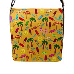 Beach Pattern Flap Messenger Bag (l)  by Valentinaart