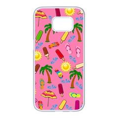 Beach Pattern Samsung Galaxy S7 Edge White Seamless Case by Valentinaart