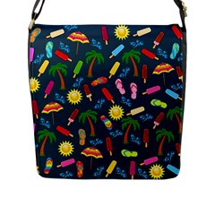 Beach Pattern Flap Messenger Bag (l)  by Valentinaart