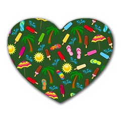 Beach Pattern Heart Mousepads by Valentinaart