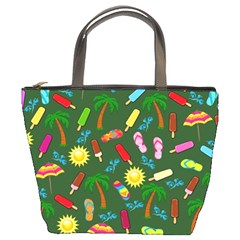 Beach Pattern Bucket Bags by Valentinaart