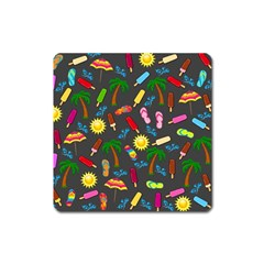 Beach Pattern Square Magnet by Valentinaart