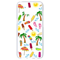 Beach Pattern Samsung Galaxy S8 White Seamless Case by Valentinaart
